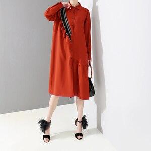 Image 4 - [EAM] 2020 nueva primavera otoño solapa de manga larga roja suelta volantes Stplit conjunto de gran tamaño camisa vestido mujeres moda marea JQ148