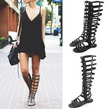 Women Shoes Gladiator Sandals Strappy Flat Knee High Long Zi