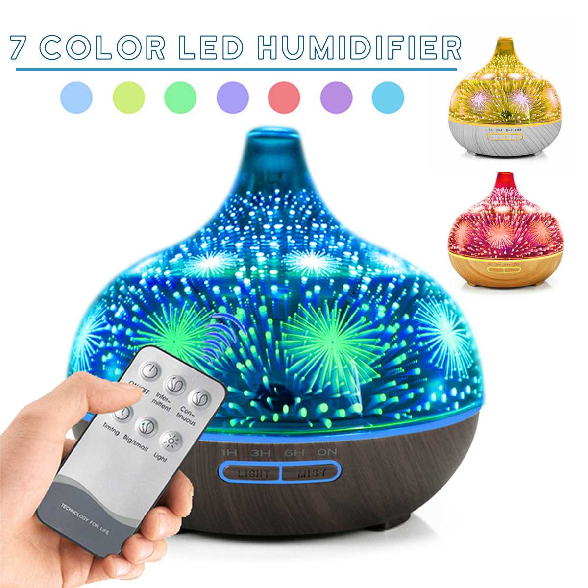 Remote Control Aromatherapy Essential Oil Diffuser Glass And Wood Grain Air Humidifier With 3D Fireworks Effect Electric Air Purifier With 7 Colors Changing LED Flash