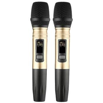 2 шт./компл. Ux2 Uhf Беспроводная микрофонная система ручной светодиодный микрофон Uhf динамик с портативным usb-приемником для Ktv Dj Speech Amplifie