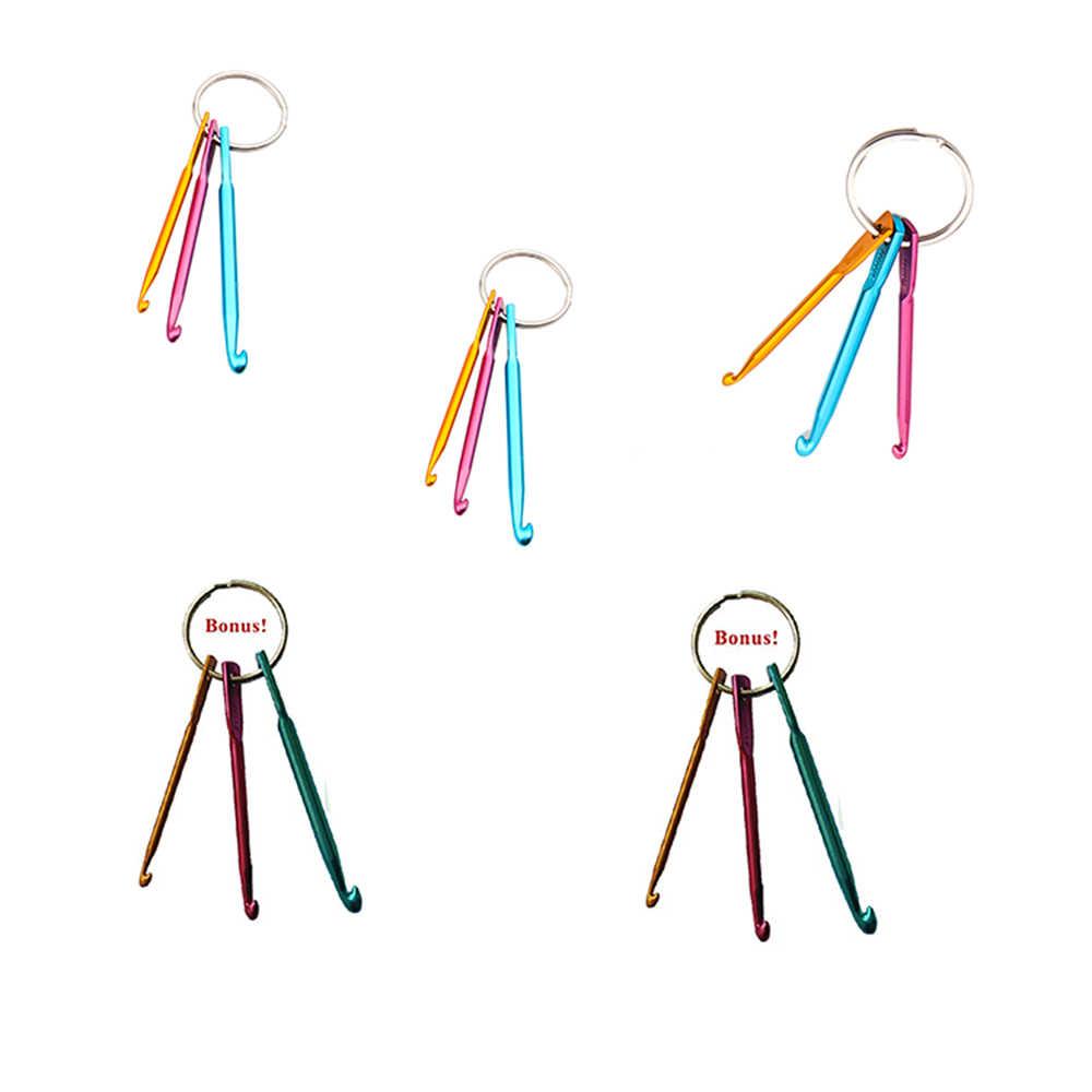 3 trong 1 Set Xách Tay Crochet Móc Nhà Sử Dụng Crochet Móc Nhôm Keychain Kim Loại Móc Thủ Công Mỹ Nghệ Knitting Needles Weave May công cụ