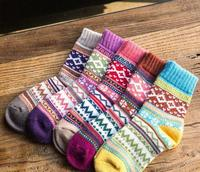 5 Pairs Womens Socks Warm Winter Multi colored Socks Wool Woven Cashmere Warm Short Socks Slippers Women Casual Soft winter
