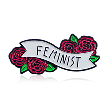 LNRRABC Red Rose Floral Feminist Pins Badges Brooches Enamel Lapel Pin Backpack Bag Accessories Gift for Women girls