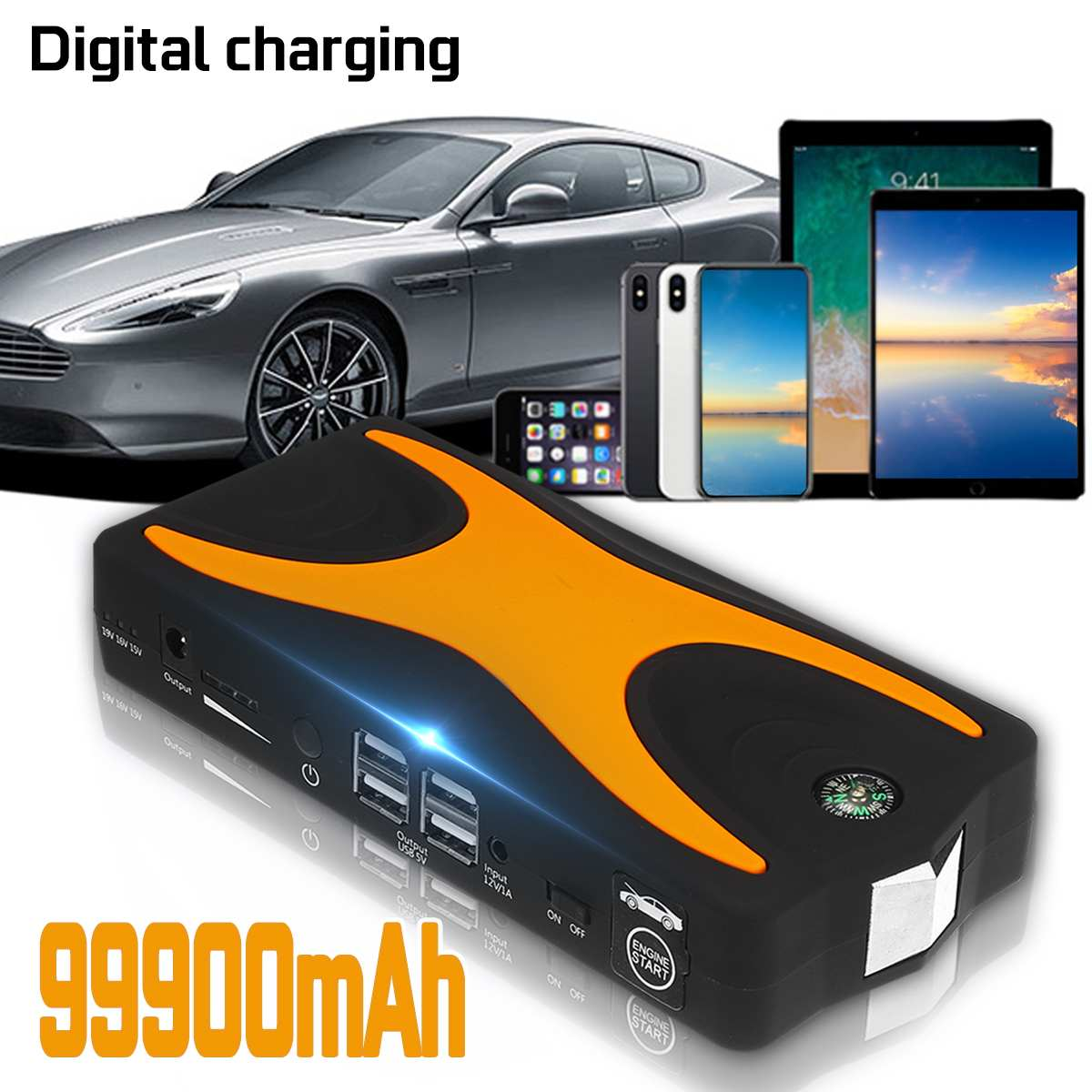 99900mAh 15V 4USB 900A High Power Car Jump Starter Portable Car Battery Booster Charger Booster Power Bank Starting Device