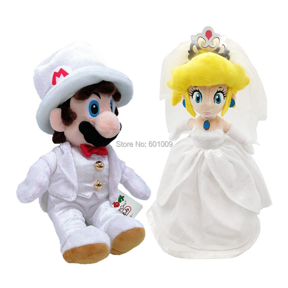 2pcs Set Super Mario Odyssey White Wedding Dress Princess Peach