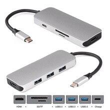 Jimier HDMI и 3 порта концентратор и TF SD для док-станции USB-C кард-ридер и зарядное устройство многопортовый адаптер