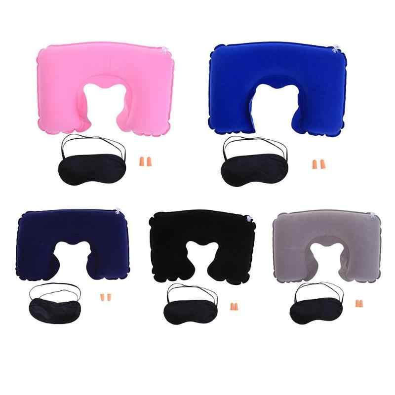 Flocage oreiller gonflable en forme de U souple avec bouchons d'oreilles