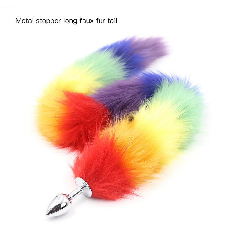 Rainbow Fox Tail Butt Plug