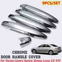 for Toyota Camry Avalon Tacoma 4Runner Sienna 9 PCS Chrome Door Handle Cover Trimdoor handle covers w/ extra passenger keyhole