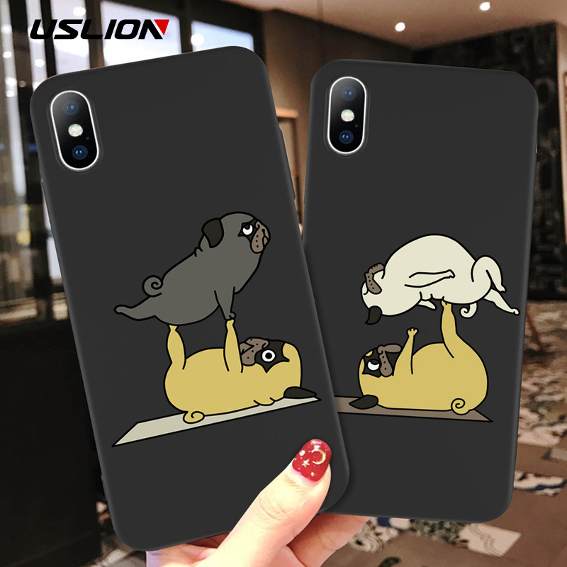 USLION Cartoon Phone Case For IPhone X Xs Max XR 11 Pro Max Funny Yoga Dog Pattern Cases For IPhone 8 7 6 6S Plus Soft TPU Cover