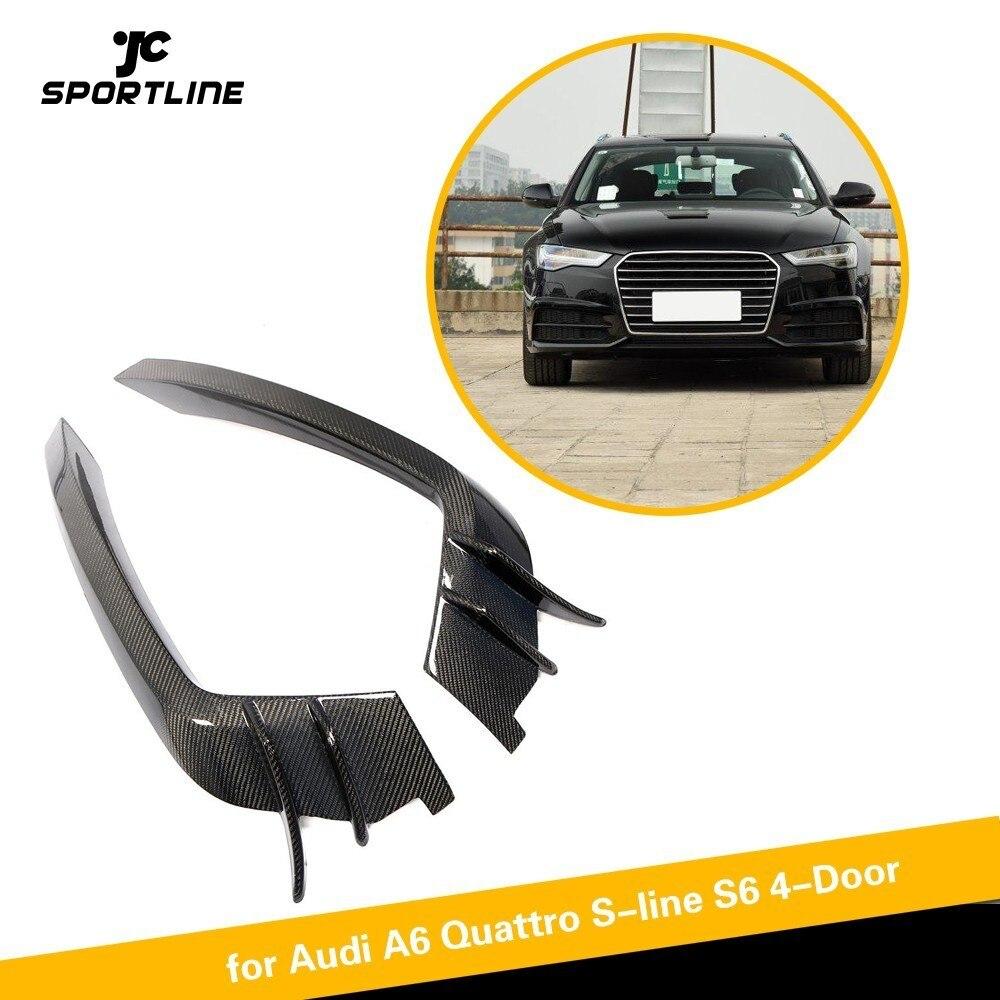 Pour Audi A6 Sline/S6 2015-2018 Avant De la Voiture Pare-chocs Air Vent Fender Trim Accessoires En Fiber De Carbone