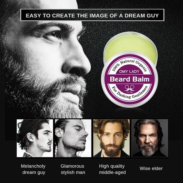 Omylady Natural Beard Balm Beard Conditioner Professional Beard Growth Organic Mustache Wax For Beard Smooth Styling 2