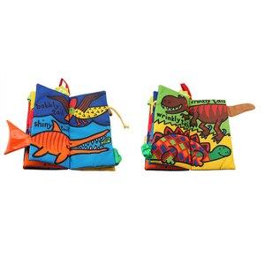 Image 2 - JOLLYBABY 2 Pack zwierzęta stereoskopowe ogony tkaniny książki dziecko wczesna nauka edukacja książki zabawki (Dino i puszyste ogony)