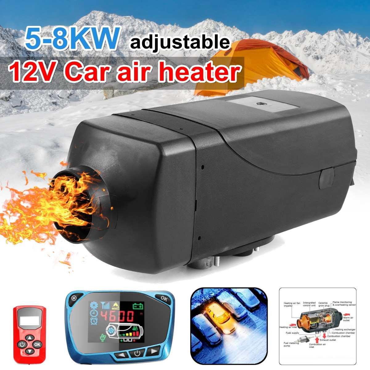 5-8KW réglable pompe à huile filtre 12 V voiture chauffage Air diesels LCD Parking chauffage pour camion bateau Bus + télécommande + silencieux