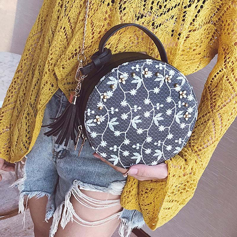 New All Matched Sling Shoulder Messenger Bag Tote For Women Female Chain Hand Bags Crossbody Mini Round Bag Lace Handbag Totes Сумка