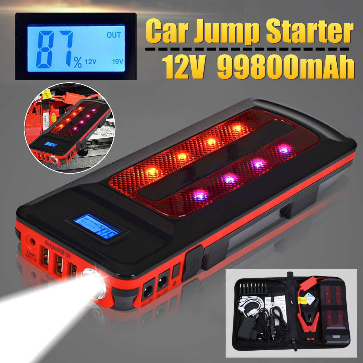 12V 99800mAh Portable Emergency Battery Charger Car Jump Starter Smart Clip Power Bank Starting Light Bar US/UK/AU/EU jump starter car styling uk us eu au 88800mah multi functional car jump starter emergency charger booster power bank battery