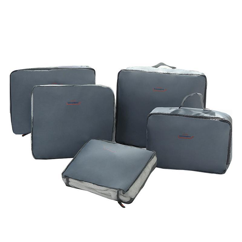 5 pçs um conjunto de organizadores de viagem saco roupas sujas cinto bagagem mala sacos à prova dwaterproof água cubo náilon organizador ao ar livre