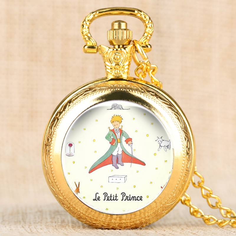 Luxury The Little Prince Quartz Pocket Watch Fox Rose Pattern Necklace Pendant Gifts For Men Women Children Collectibles