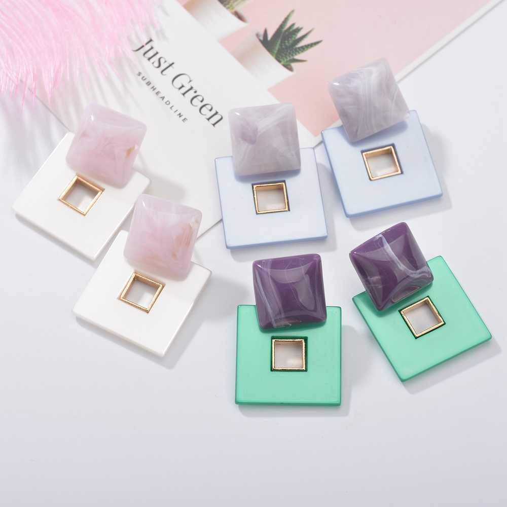MESTILO 2019 New Design Green Square Resin Drop Earrings For Women Casual Statement Big Earrings Trendy Jewelry Wholesale