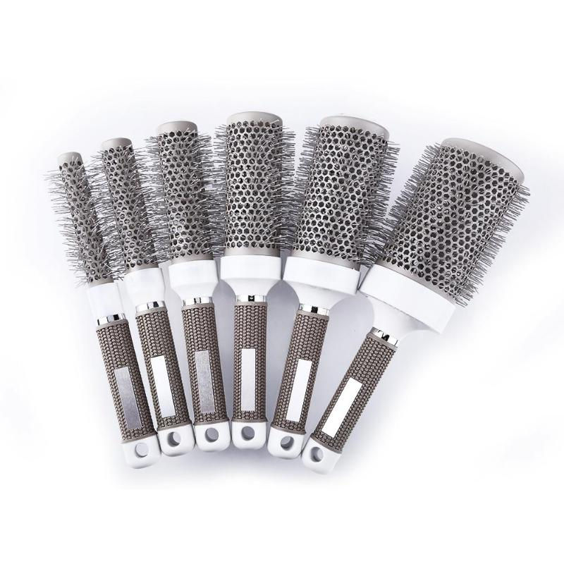 Multi-size Ceramic Iron Round Comb High Temperature Resistant Professional Hair Dressing Brushes Hair Styling Tool Hairbrush