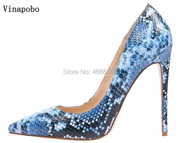 2019 Women Stiletto Heels Party Shoes Ladies thin High Heel Shoes Woman Wedding Shoes Shallow High Heels Womens Blue Snake pumps