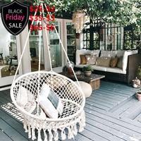 Nordic Style Handmade Knitted Round Hammock Outdoor Indoor Dormitory Bedroom Children Swing Bed Kids Single Chair Hammock Decor