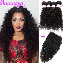 Brazilian Deep Wave Hair Top Human Hair Bundles With Closure 3/4 Bundles With Closure Shuangya Remy Hair Extensions(China)