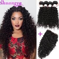 Brazilian Deep Wave Hair Top Human Hair Bundles With Closure Free Part 3/4 Bundles With Closure Shuangya Remy Hair Extensions