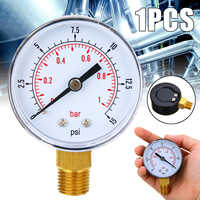 1pc 50mm Diameter Pressure Gauge 0-15 PSI 0-1 Bar 1/4 BSPT Low Pressure For Fuel Air Oil Gas Water