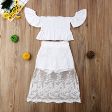 1-6T Toddler Kid Baby Girl Princess Clothes Set Party White Lace Floral Tops Long Skirt Outfits Clothes 2PCS