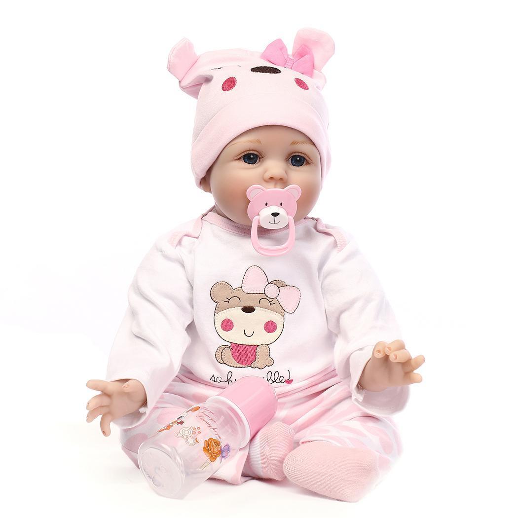 NPK 55cm Newborn Reborn Baby Dolls Silicone Cute Soft Babies Doll For Girls Princess Kid Fashion Bebe Reborn Dolls