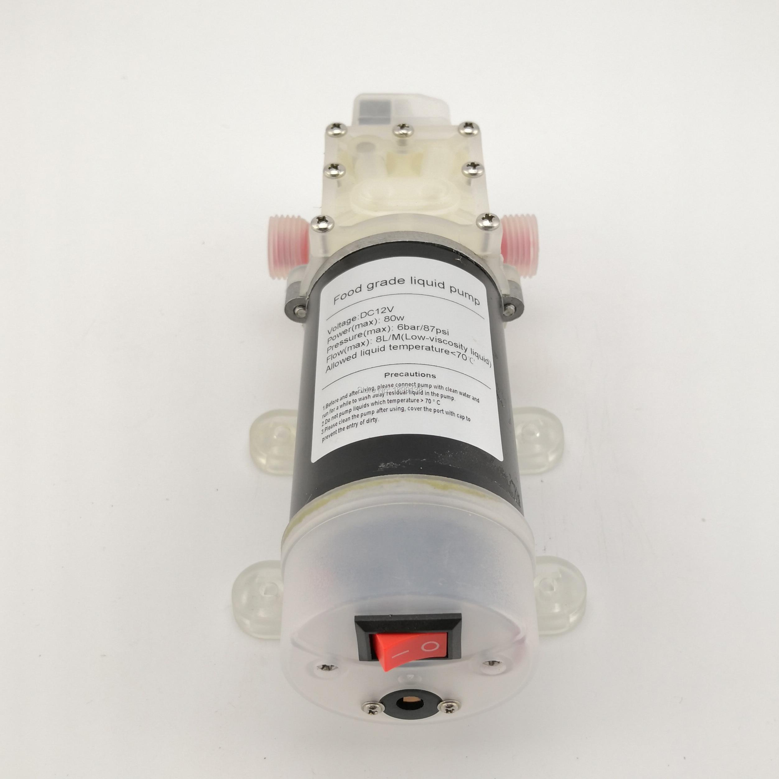 DC 12 v 80 w 8L/M auto amorçage de la pompe automatique pression contrôle de qualité alimentaire pompe de transfert pour le vin lait G1/2