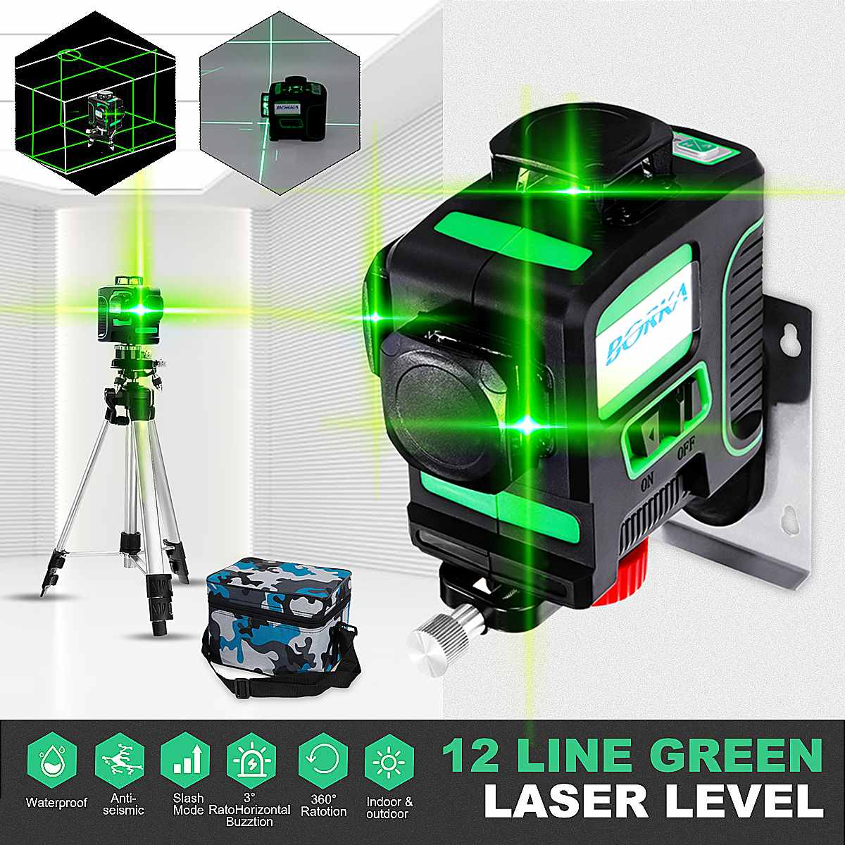 US 12 Lines 3D Green Rotary Laser Leveling 360° Rotary Cross Measure Tool Tripod