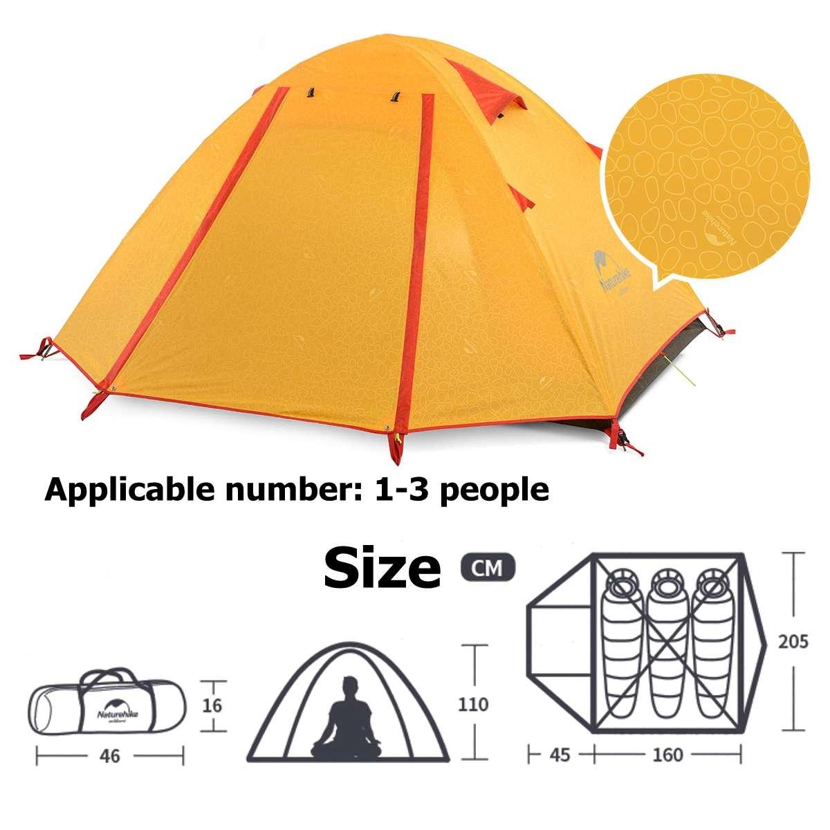 Pole Outdoor Tent Camping UPF50 Naturehike NH Double Aluminum  Anti-UV PU2000 Waterproof 3 PeoplePole Outdoor Tent Camping UPF50 Naturehike NH Double Aluminum  Anti-UV PU2000 Waterproof 3 People