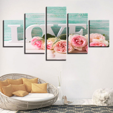Decor Wall Art Living Room HD Printed 5 Pieces Pink Roses And Letters Love Painting Frame Modular Pictures Canvas Modern Artwor