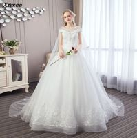 Real Pictures Ball Gown Bridal Dress Vintage Muslim Plus Size Lace Dress Princess with Sleeve