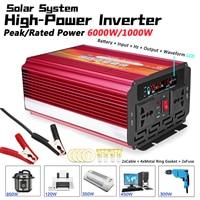 Solar Inverter 12V 220V 6000W P eak Voltage Transformer Converter DC 12V To AC 220V Car Inverter 12V/24V To 110V/220V LCD