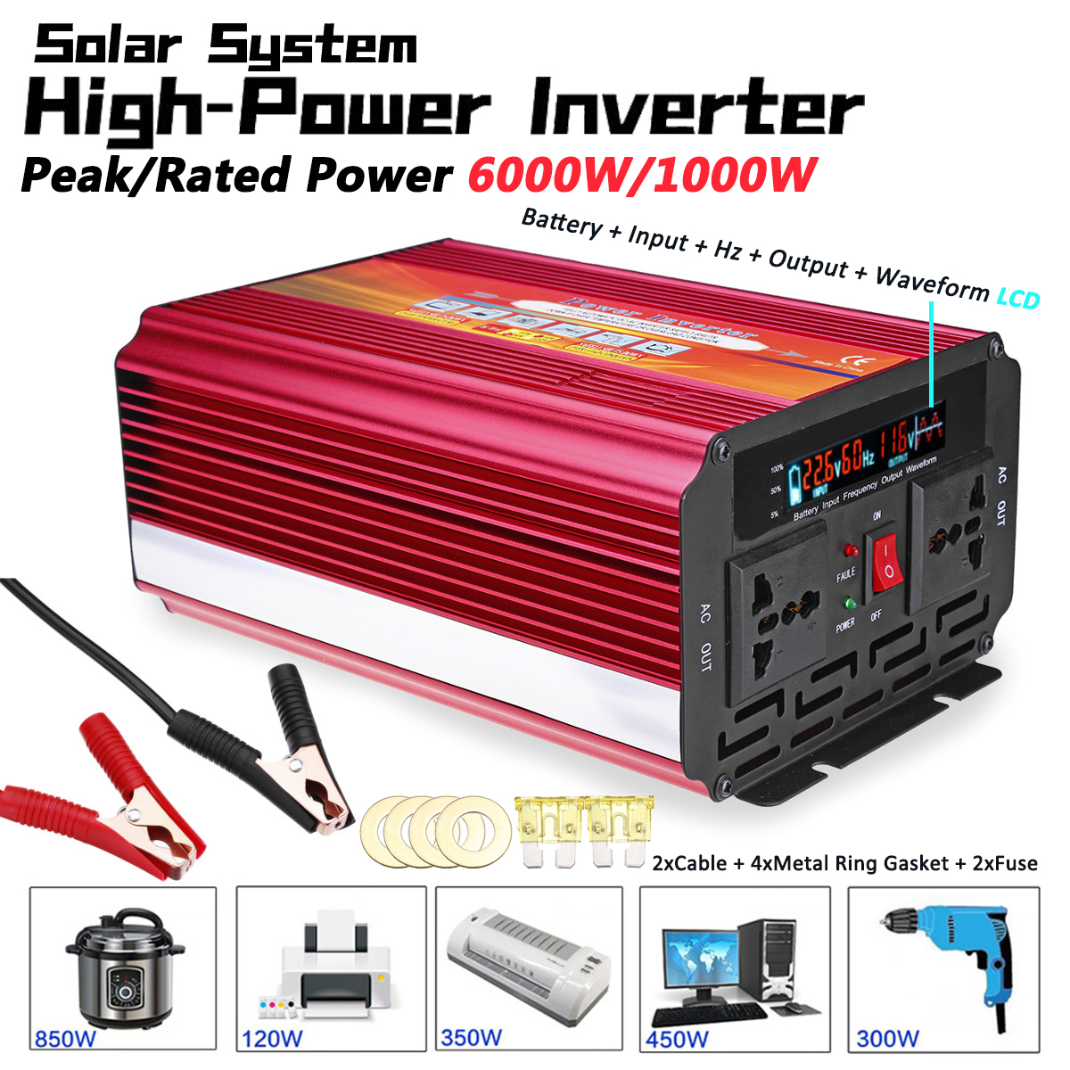 Solar <font><b>Inverter</b></font> 12V 220V <font><b>6000W</b></font> P eak Voltage Transformer Converter DC 12V To AC 220V Car <font><b>Inverter</b></font> 12V/<font><b>24V</b></font> To 110V/220V LCD image