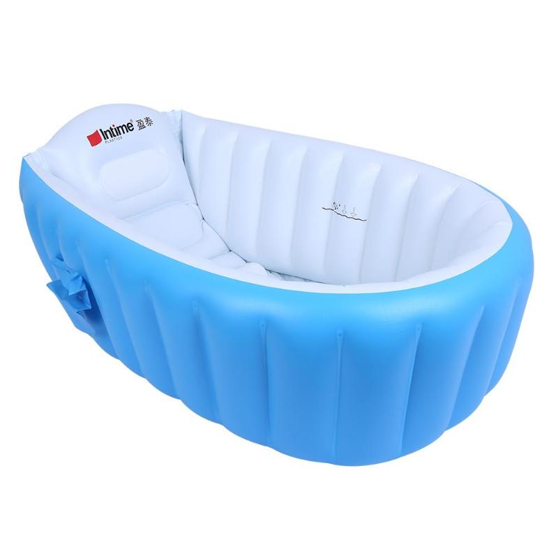 US $5.8 31% OFF|Newborn baby bath Basin Safety Inflatable Bathtub  Collapsible Air Swimming Pool Child tub cushion Foot air pump Coussin  Bain-in Baby ...