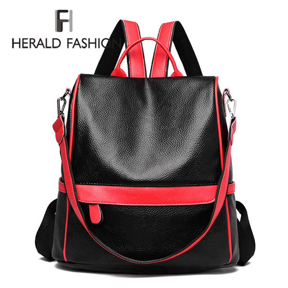 feaa8915f74 Herald Fashion Quality Women Leather Anti Theft Backpack Casual ...