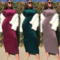 Женское велюровое платье Abaya исламский джильбаб, мусульманское длинное облегающее макси платье, Повседневное платье-футляр, платье с ворот...
