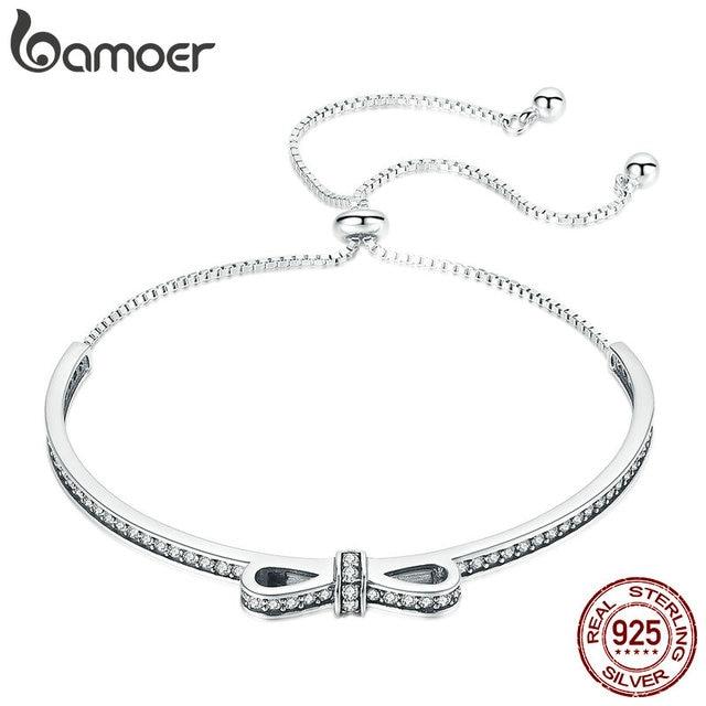 BAMOER גבוהה באיכות 925 סטרלינג כסף Bowknot נקה מעוקב זירקון צמידי צמידים לנשים סטרלינג כסף תכשיטי SCB108