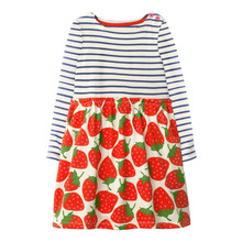 Kid Cotton Dress Girls Cute Strawberry Print Dress Baby Casual clothes Toddler long Sleeve stripe clothing toddler girl costume
