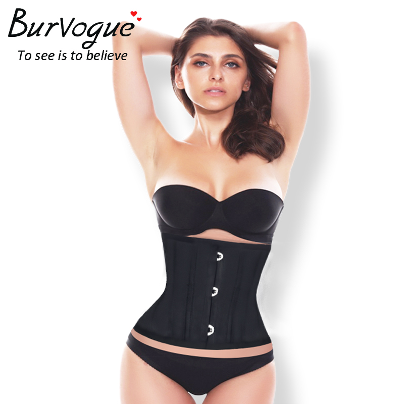 Burvogue Women   Corset   Waist Trainer Slimming   Corset   Satin Bone Lace Up Top   Corsets   Sexy   Bustier   Cincher   Corset   Short Black Skin
