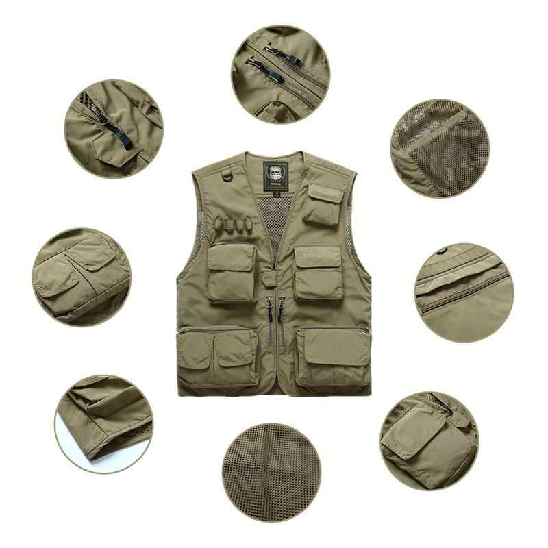 Быстросохнущие жилет для рыбалки с сеткой Mutil-Pocket съемные рыболовные фотографы сетчатый жилет открытый плюс размер рыболовные жилеты для мужчин
