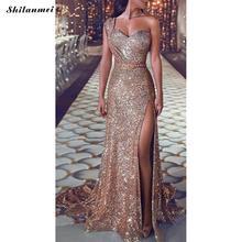 Slim Floor-Length Front Slit Plus Size Long Evening Party Dress Famous Brand  Backless One Shoulder Sequin Dress Gold Foil Print one shoulder twist front slit ruffle hem dress