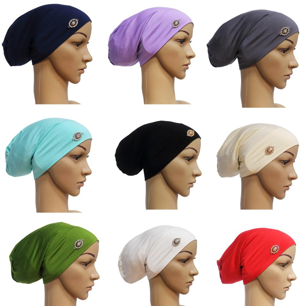 Women Tube Cap India Cap Muslim Hijab Head Wrap Hair Loss Baggy Beanie Chemo Hat Stretch Turban Hair Loss Abaya Headscarf Bonnet