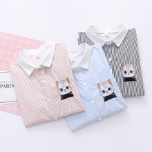 spring Autumn Pattern Korean Long Sleeve Shirt Woman Blue Stripe embroidery cat Small Fresh Student Rendering blouse tops