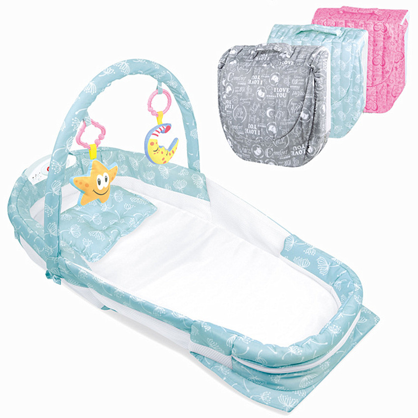 Baby folding Bed carry cot Travel Bed For Children night lights and music Crib Kids Cradle Infant Kids Cradle With mosquito netBaby folding Bed carry cot Travel Bed For Children night lights and music Crib Kids Cradle Infant Kids Cradle With mosquito net