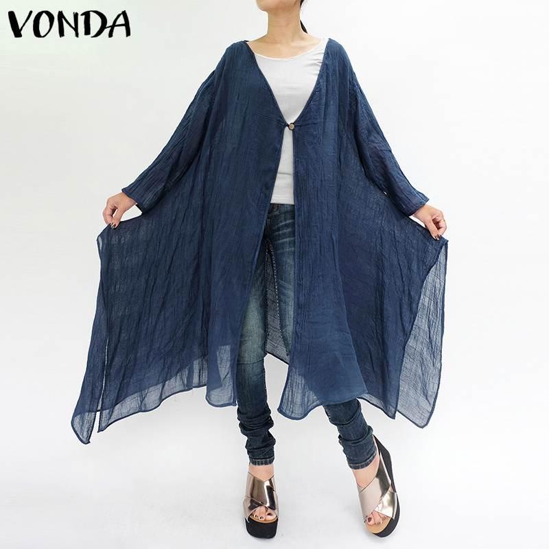 VONDA Brand Women   Blouses     Shirts   2019 Summer Casual Loose Long Sleeve Cardigans Outerwear Long Beach Blusas Plus Size Tops
